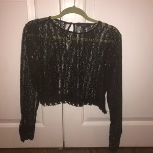 Tops - Black lace long sleeve shirt